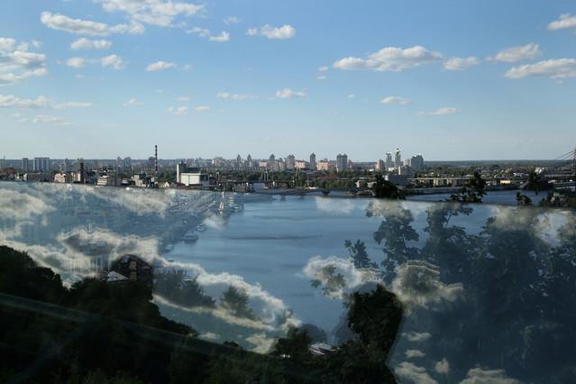 Kijów, Ukraina Panorama miasta ze szklanego mostu ROleksandra